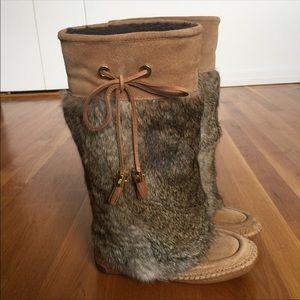 Tory Burch Aprés rabbit fur boots